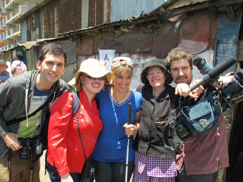 Tomasz Kozakiewizc on the left with Jayne waithera, Sabriye Tenberken, Mary and Marijn Poels in Nairobi, Kenya