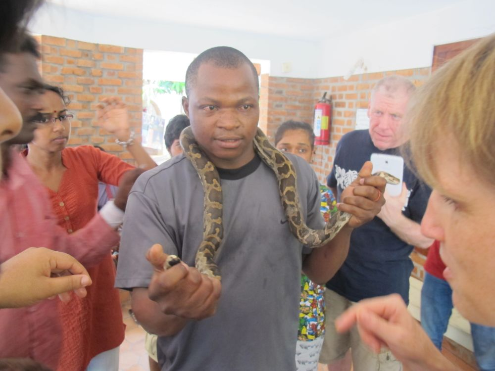 Emmanuel Mruu from Kenya was brave enough to present one of the snakes that Vava had brought to the kanthari campus
