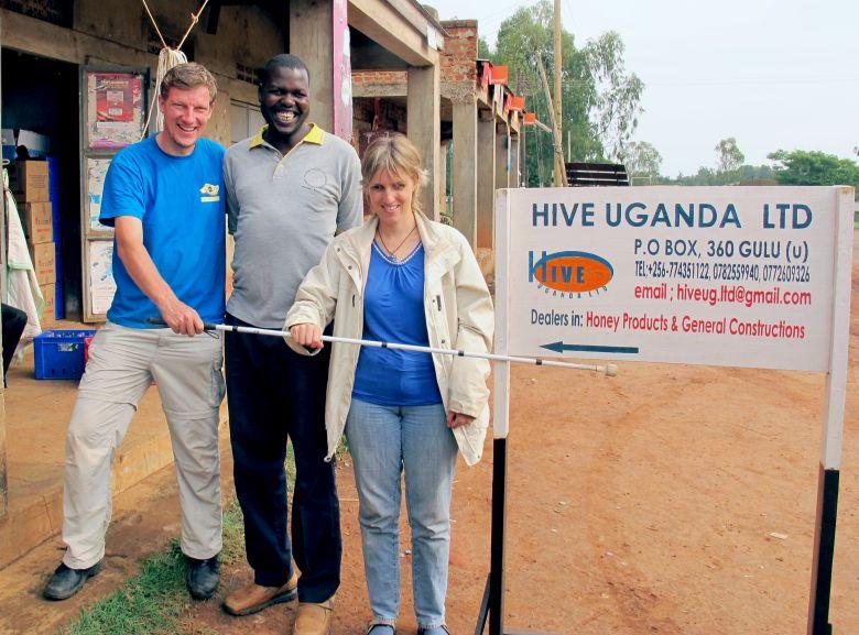 paulkronenberg, Ojok Simon, founder of Hive Uganda and Sabriye Tenberken at Hive Uganda's office in Gulu